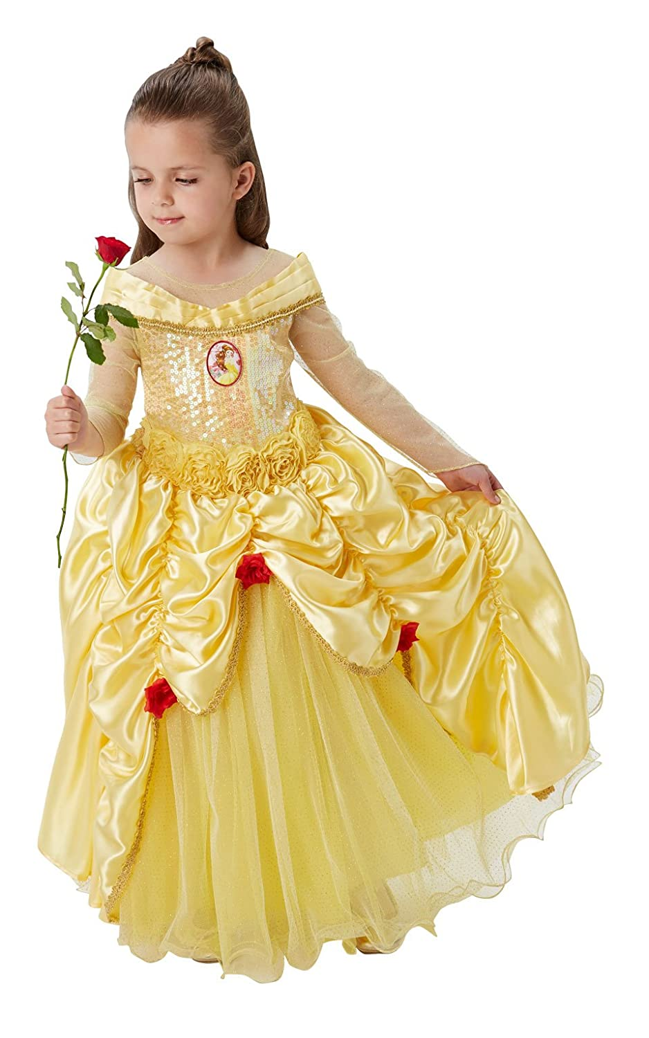 2037a81635e Rubie's Official Disney Premium Belle Girls Fancy Dress Princess Beauty  Childs Deluxe Costume - Small