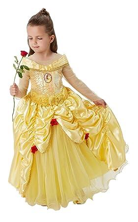 Princesas Disney - Disfraz de Bella Premium para niña, infantil 7-8 años (Rubies 620473-L)