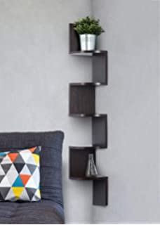 Amazon.com: Greenco 5 Tier Wall Mount Corner Shelves Espresso Finish ...
