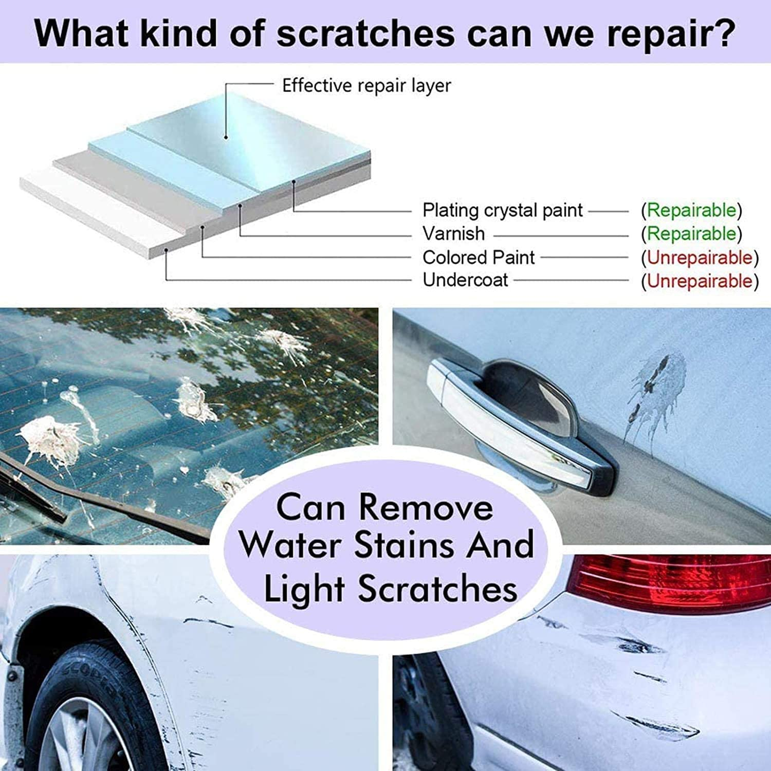 Multipurpose Scratch Repair Cloth,Easy to Repair Small and Medium Scratched Car Paint Water Spots on Surface 3 pcs Nano Magic Car Scratch Remover Cloth