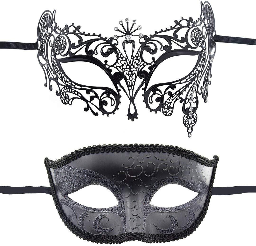 INTVN Antifaz Sexy, 2 Piezas Máscara de Mascarada, Antifaces Metalizadas Estilo Veneciano, para Carnaval, Halloween o Mardi Gras, Negra