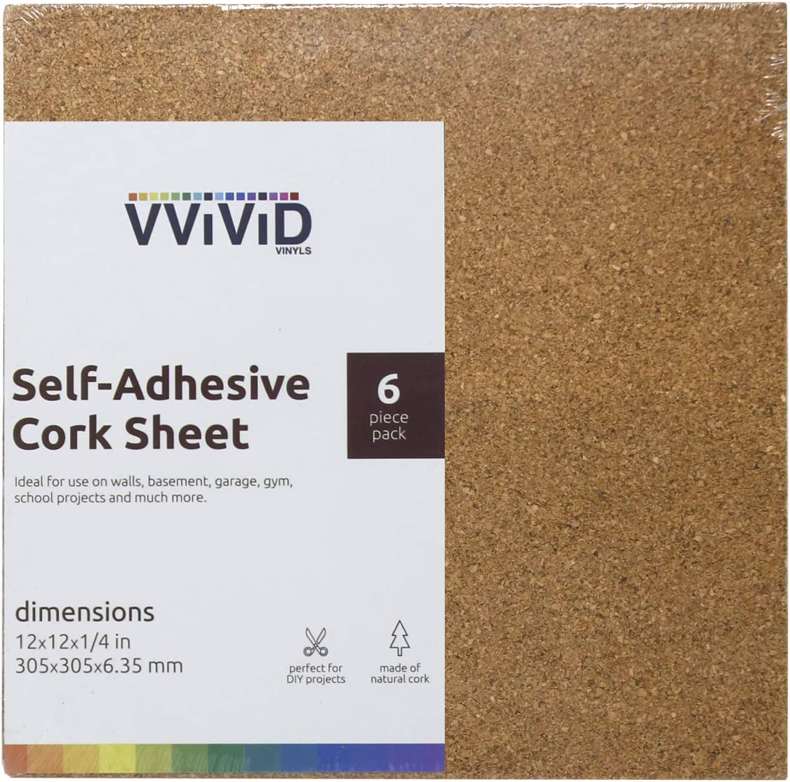 VViViD Adhesive Backed 12 Inch by 12 Inch Square 1//4 Inch Thick Cork Foam Board Pack 6 Pack