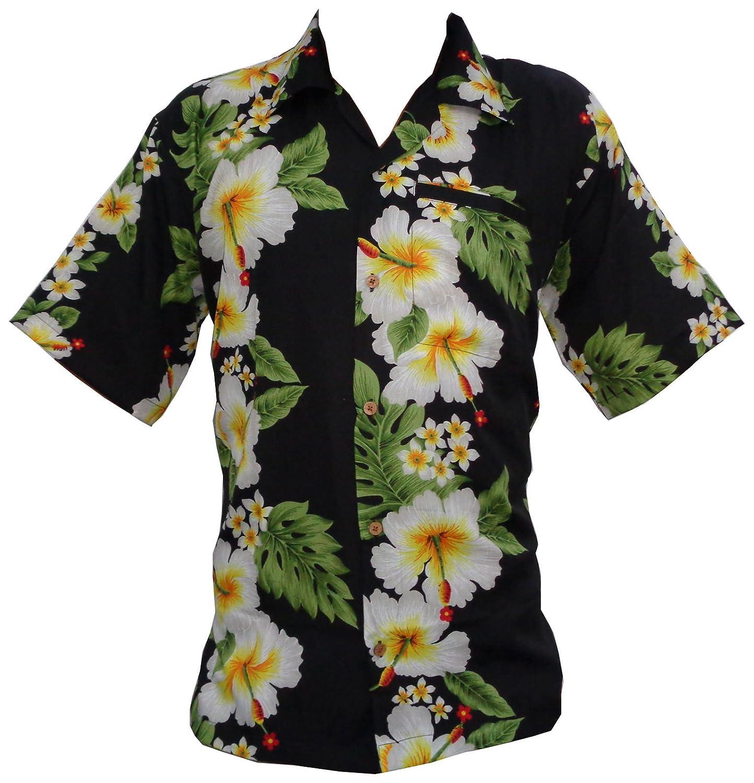 Hawaiian Shirt Mens Hibiscus Floral Print Aloha Party Beach Camp At