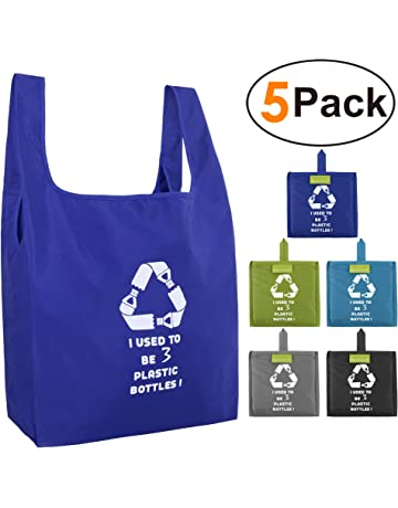 f641e21df35 Reusable Grocery Bags Set, Grocery Tote Foldable into Attached Pouch,  Ripstop Polyester Reusable Shopping
