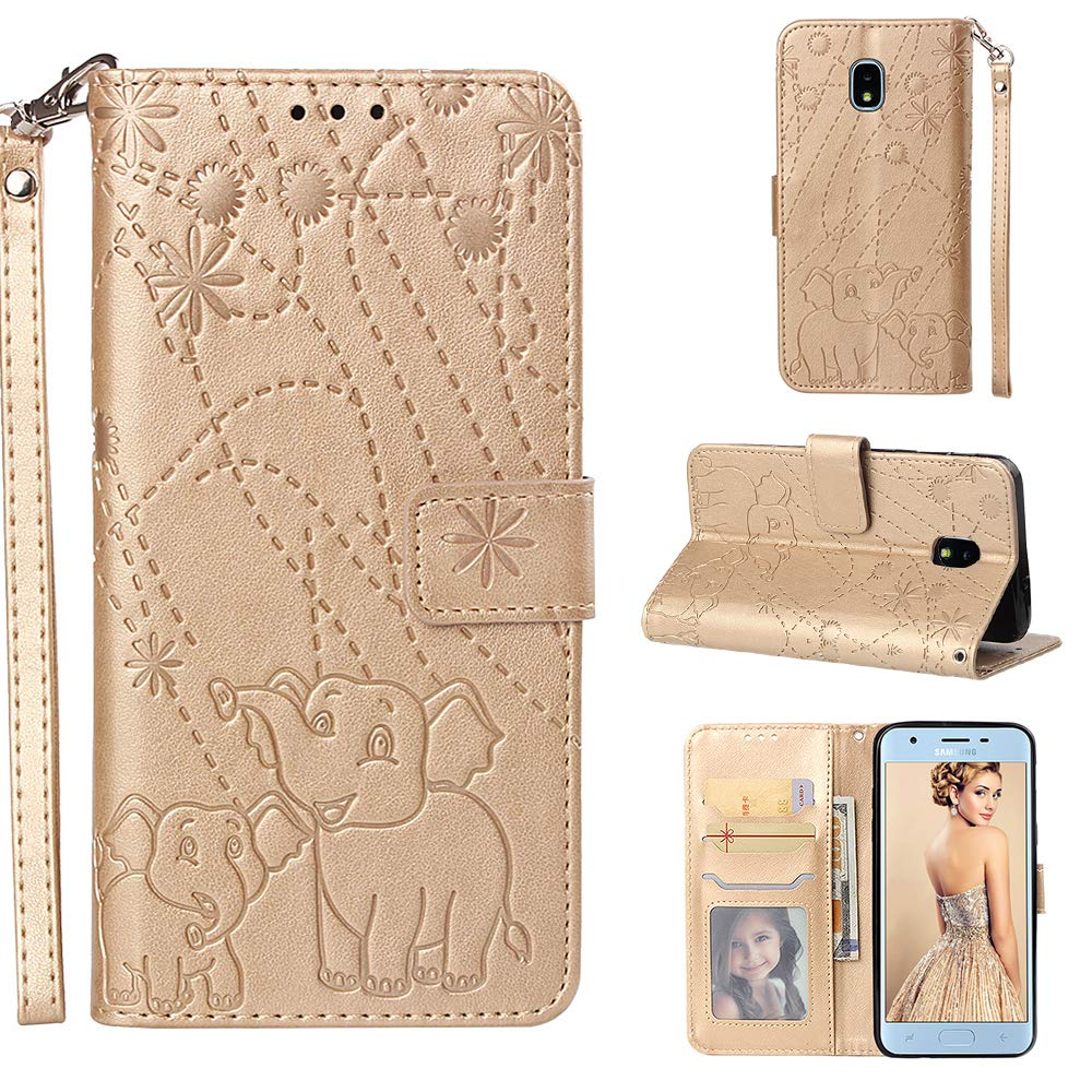 Vistore Wrist Strap Wallet Case for Samsung Galaxy J3 2018,Classic Gray Fireworks Elephant Print Slim Magnetic PU Leather Stand Soft Silicone Back Cover for Samsung Galaxy J3 2018