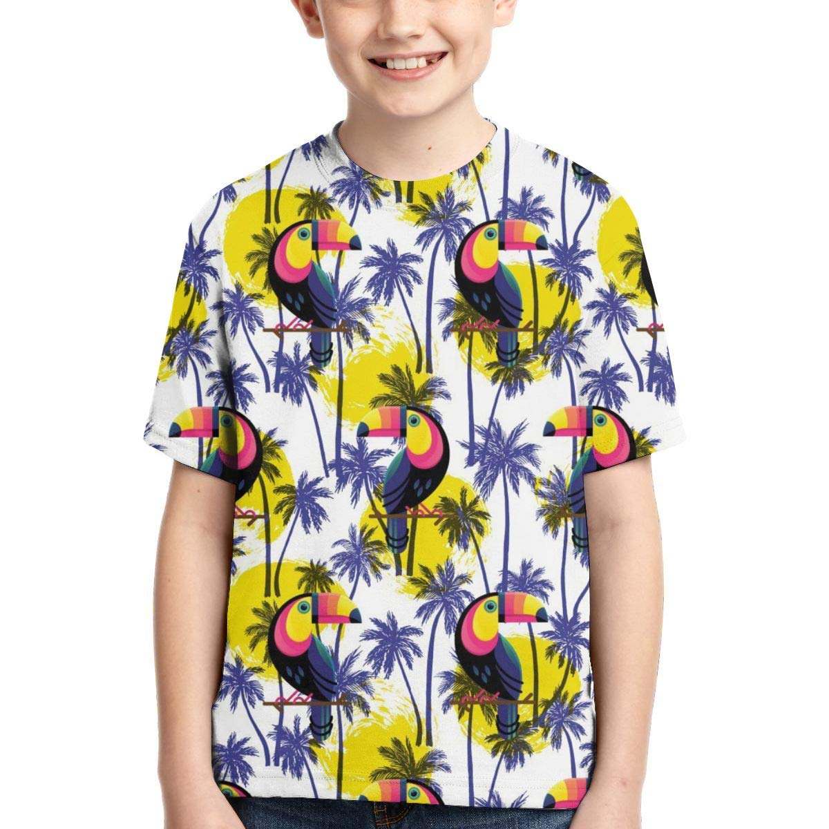 HHTZTCL Botanical Plam Trees with Toucan Boys Print Graphic Tee Short Sleeve T-Shirt