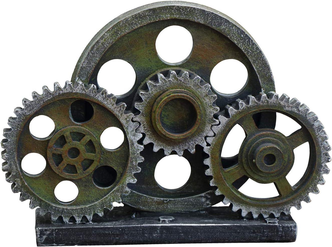 "Rmdusk Industrial Steampunk Gear Train Figurine, Cog Wheel Statue, Resin Model, Home Bar Décor Ornament 7.7"" H Green Patina"