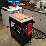 Amazon Com Linon Cameron Granite Top Kitchen Cart 36 02