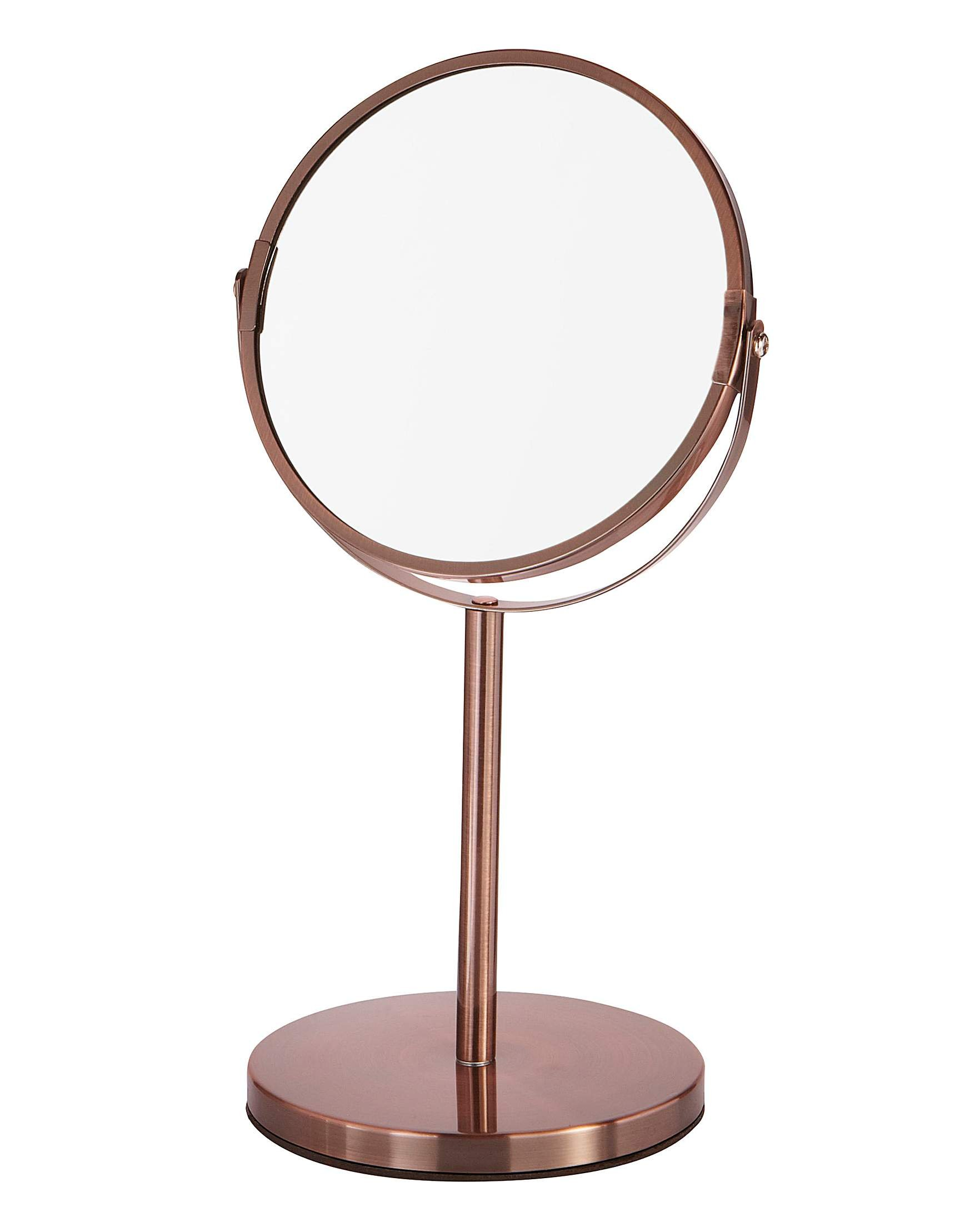 CROWNSTARQI Makeup Mirror 5-inch Tabletop Two-Sided Swivel Vanity Mirror with 3x Magnification, 12.5-inch Height, Bronze Copper Stainless Steel