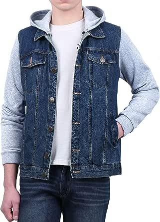 Lars Amadeus Men's Jean Jacket Hoody Knit Sleeves Casual Denim Jacket with Hood