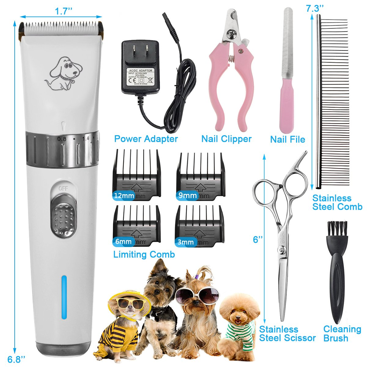 FOCUSPET Pet Grooming Clippers, 2 Level Speed Adjustable Rechargeable Cordless Dog Grooming Clippers Kit Low Noise Electric Hair Trimming Clippers Set for Small Medium Large Dogs Cats Animals by FOCUSPET (Image #2)