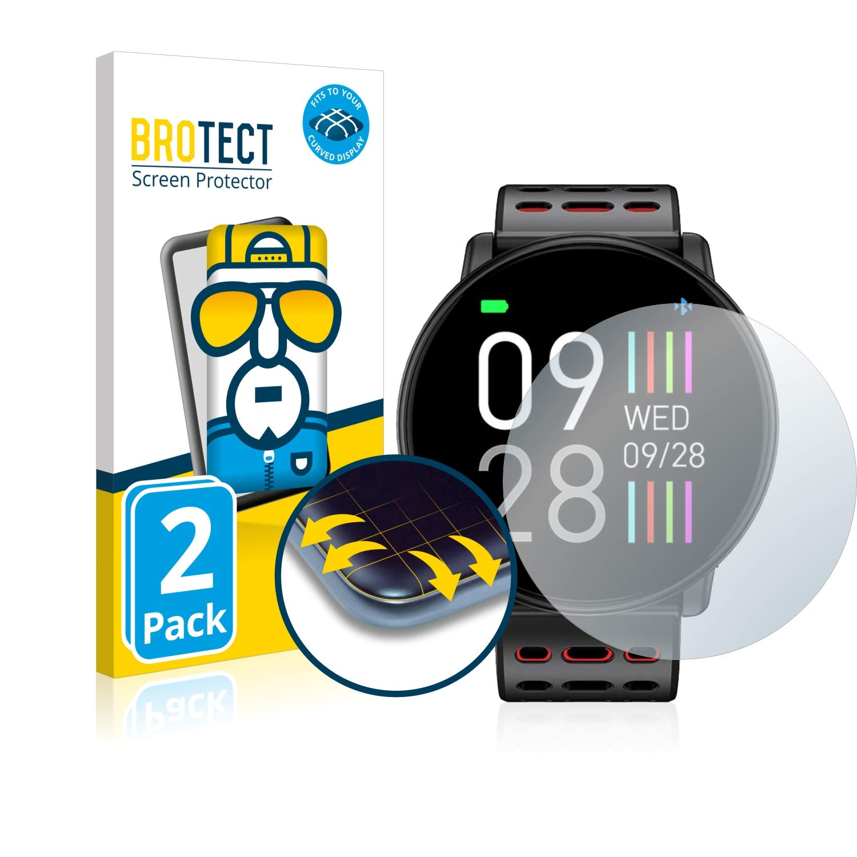 BROTECT Protector Pantalla Completa Compatible con Lifebee Smartwatch Q88 (2 Unidades) 3D Curvo