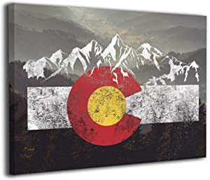 Arnold Glenn Colorado Flag Moutain Vintage Colorado Day Canvas Wall Art Prints Photo Modern Paintings Decorative Giclee Artwork Wall Decor Wood Frame Gallery Wrapped
