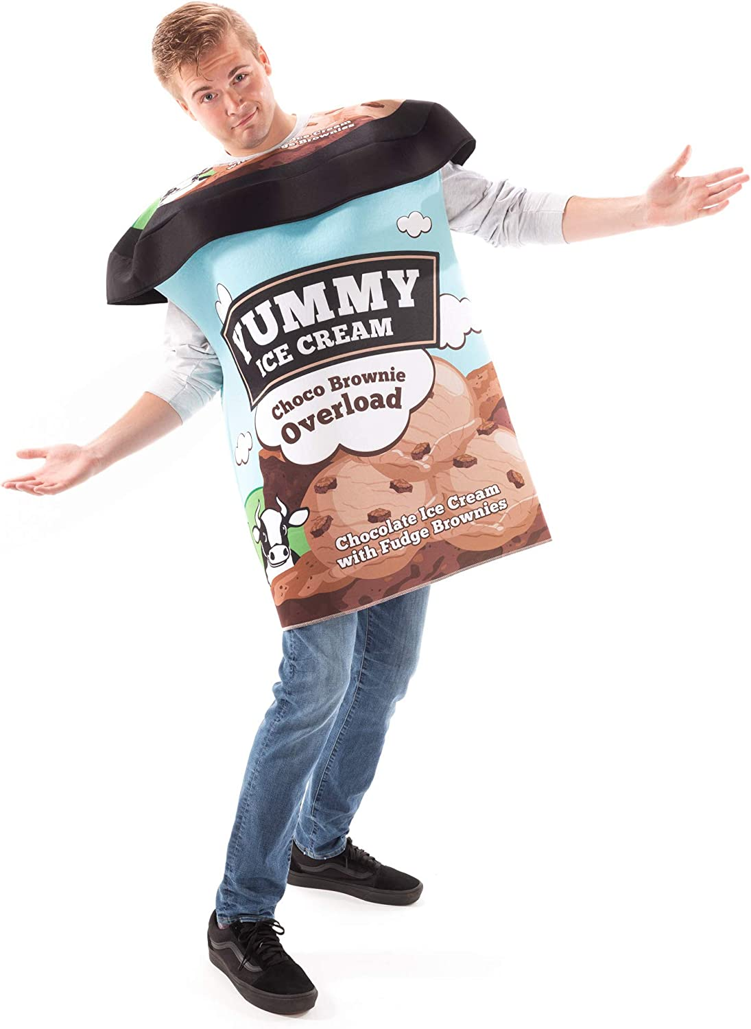 Pint of Ice Cream Halloween Costume - Cute One Size Junk Food Outfits for Adults