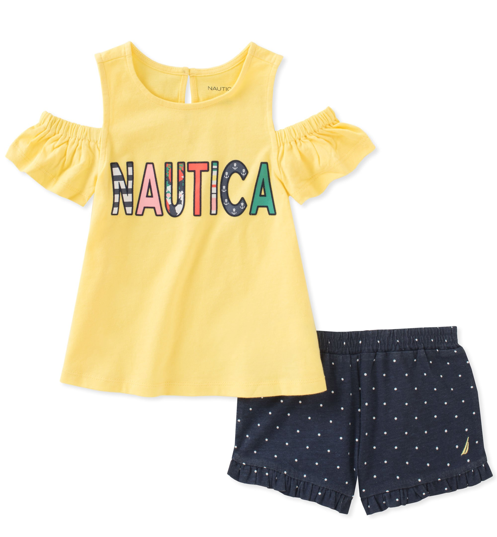 Nautica Toddler Girls' Shorts Set, Yellow/Navy, 4T