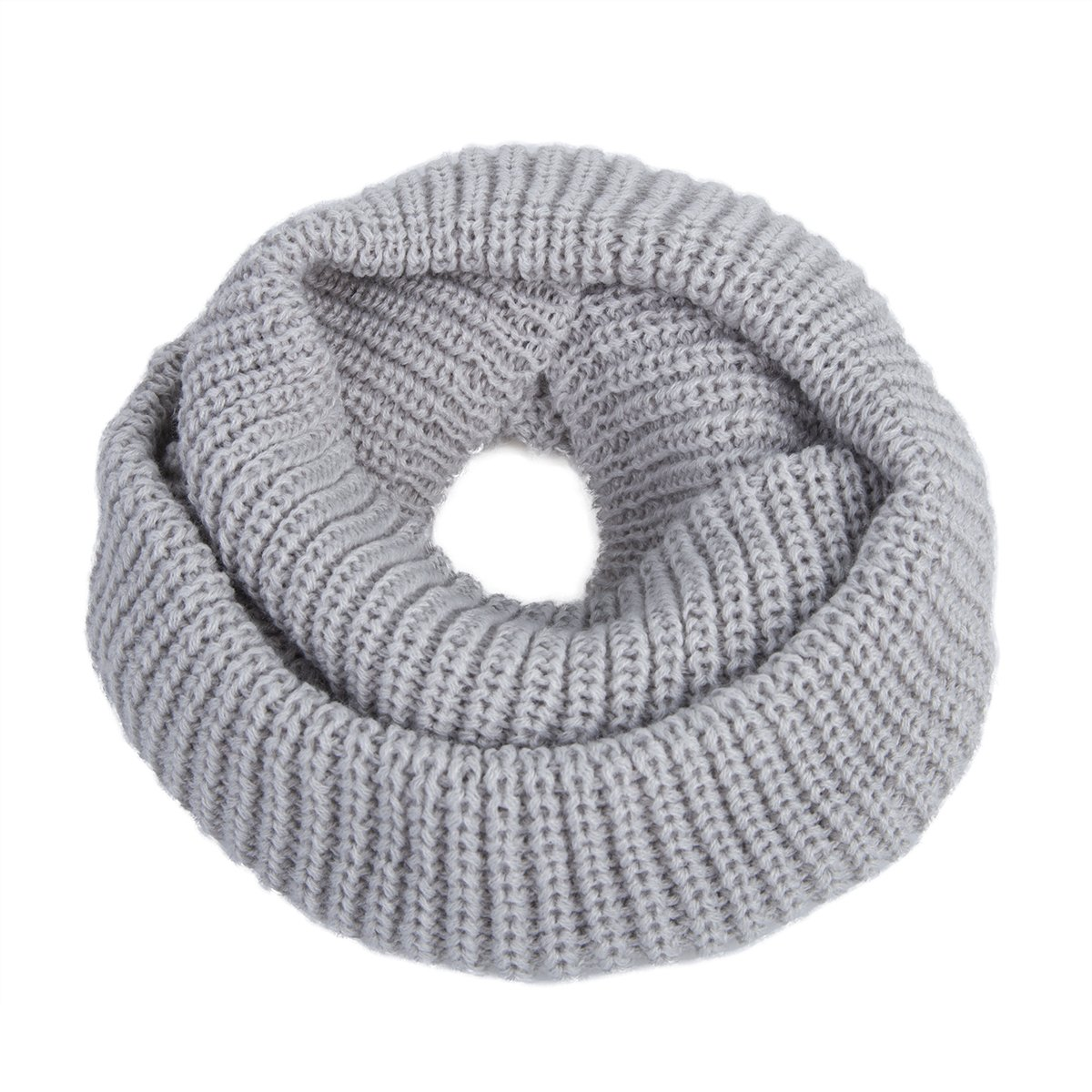 EVRFELAN Infinity Scarf Winter Warm Women Knit Circle Loop Scarves Accessories Grey Soft Neck Men Fashion Ribbed Cowl (Grey)