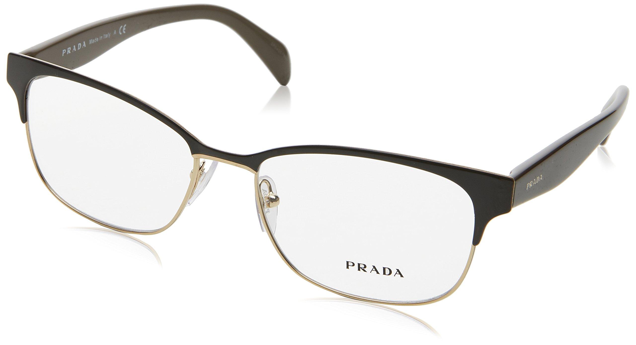 Prada Eyeglasses PR65RV DHO1O1 Brown On Pale Gold 53 16 140