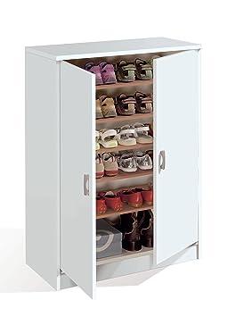armario auxiliar zapatero multiusos blanco brillo estantes regulables puertas para cocina oficina