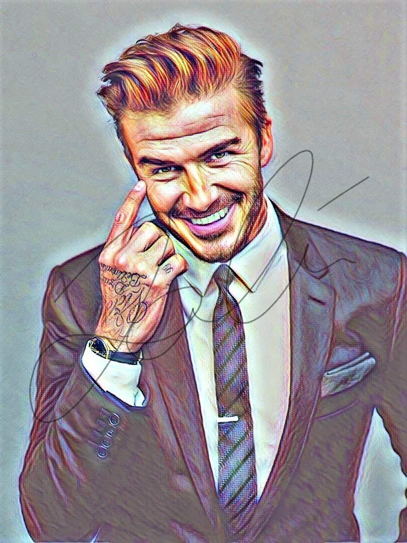Amazon com david beckham drawing print poster hand drawn coloured pencil footballer beckham1 handmade
