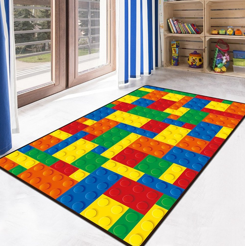 Ukeler School Classroom Playtime Learning Carpet Toy Brick Printed Educational Area Rug Mat Kids Play/Crawling, 3'.9 x 5'.2