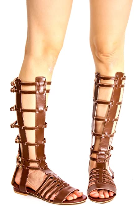 DIAMOND OPEN TOE MULTI STRAP WITH BUCKLE ACCENT BACK ZIPPER KNEE HIGH GLADIATOR SANDALS