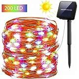 9e400c14ef6 FSTgo Luces solares de hadas Exterior Impermeable 200 LED Luz de cobre con  energía solar para
