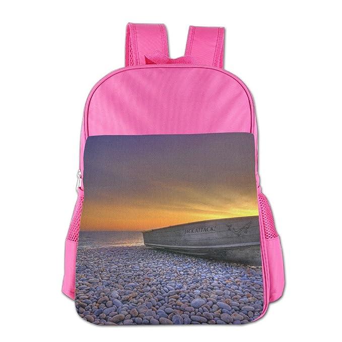 Barco en una playa de piedras en puesta de sol unisex mochila escolar bolsa niños libro bolsas al aire libre rosa: Amazon.es: Ropa y accesorios
