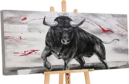 Quadro Dipinto con Colori Acrilici Oltremare II Mano Unico PS103 Tela Pittura Multicolore YS-Art Premium 120 x 60 cm Muro Arte Moderna