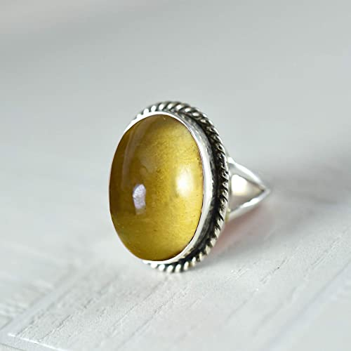 stamped 925 heavy silver ring solid 925 silver with oval cut citrine Sterling 510202 Size 7