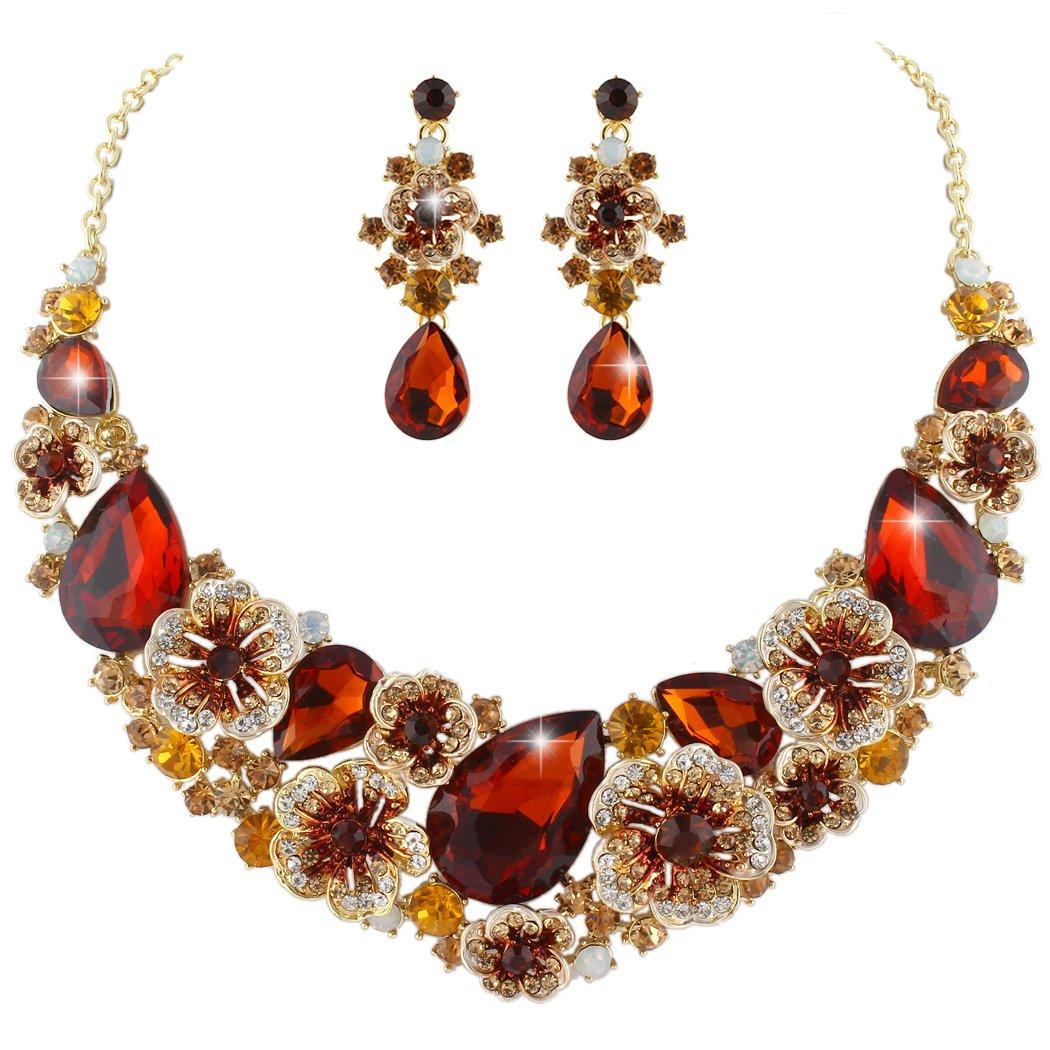 Ever Faith Juegos de Joyas para Mujer Cristal Austr/íaco Flor Camelia L/ágrima Collares Pendientes Conjunto