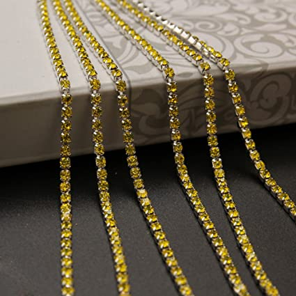 5 Different Colors Mixed KAOYOO 10 Yards Crystal Rhinestone Close Chain Trim with Rainbow Colorful Beads SS08//2.5mm Golden Chain