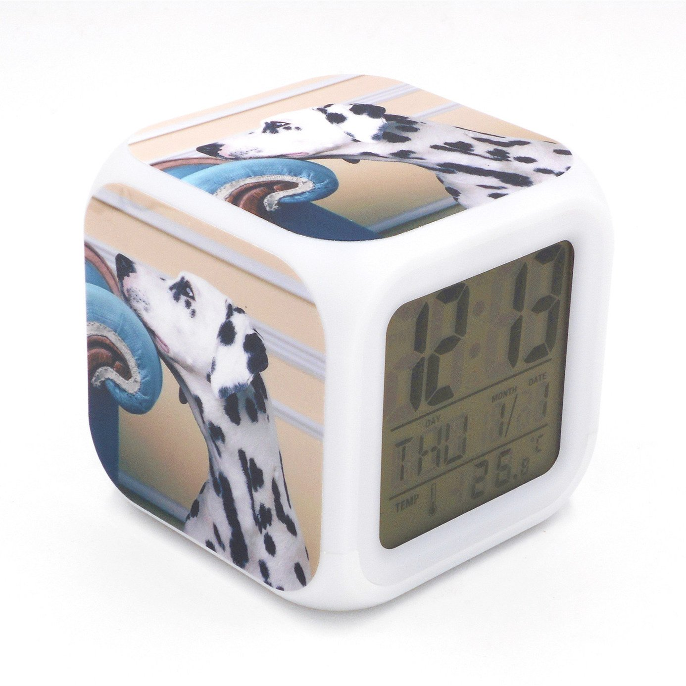 EGS New Dolorous Dalmatian Dog Puppy Animal Digital Alarm Clock Desk Table Led Alarm Clock Creative Personalized Multifunctional Battery Alarm Clock Special Toy Gift for Unisex Kids Adults