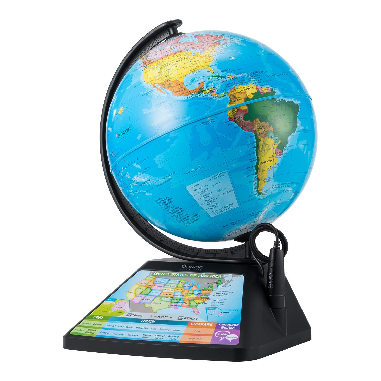 Oregon Scientific Smart Globe Adventure 2.0 Augmented Reality (Stem Approved) World Geography, Fun Educational Games (English Or Spanish) SG268RK SG268R