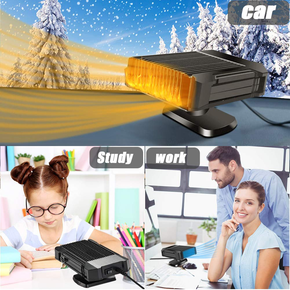 Windscreen Defogger With Quick Heat And Low Noise with 360 Degree Rotary Holder SaponinTree Portable Car Heater Defroster 12V 150W Powerful Electric Car Fan With Cooling//Heating 2 In 1 Function