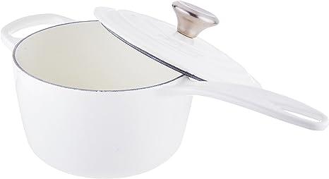 Le Creuset LS2518-1616SS Signature Enameled Cast Iron Saucepan, 1-3/4-Quart, White