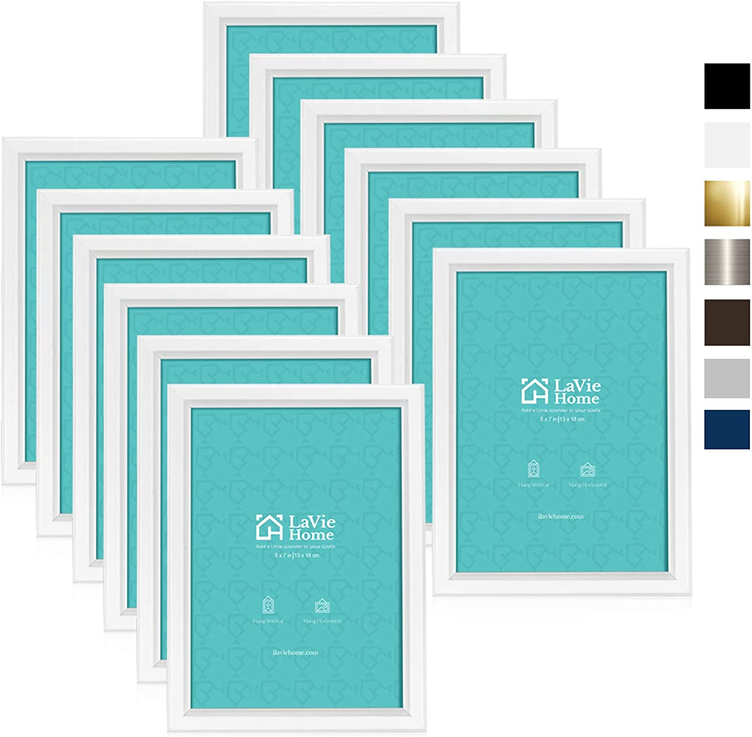 LaVie Home 5x7 Picture Frames (12 Pack, White) Simple Designed Photo Frame with High Definition Glass for Wall Mount & Table Top Display, Set of 12 Classic Collection