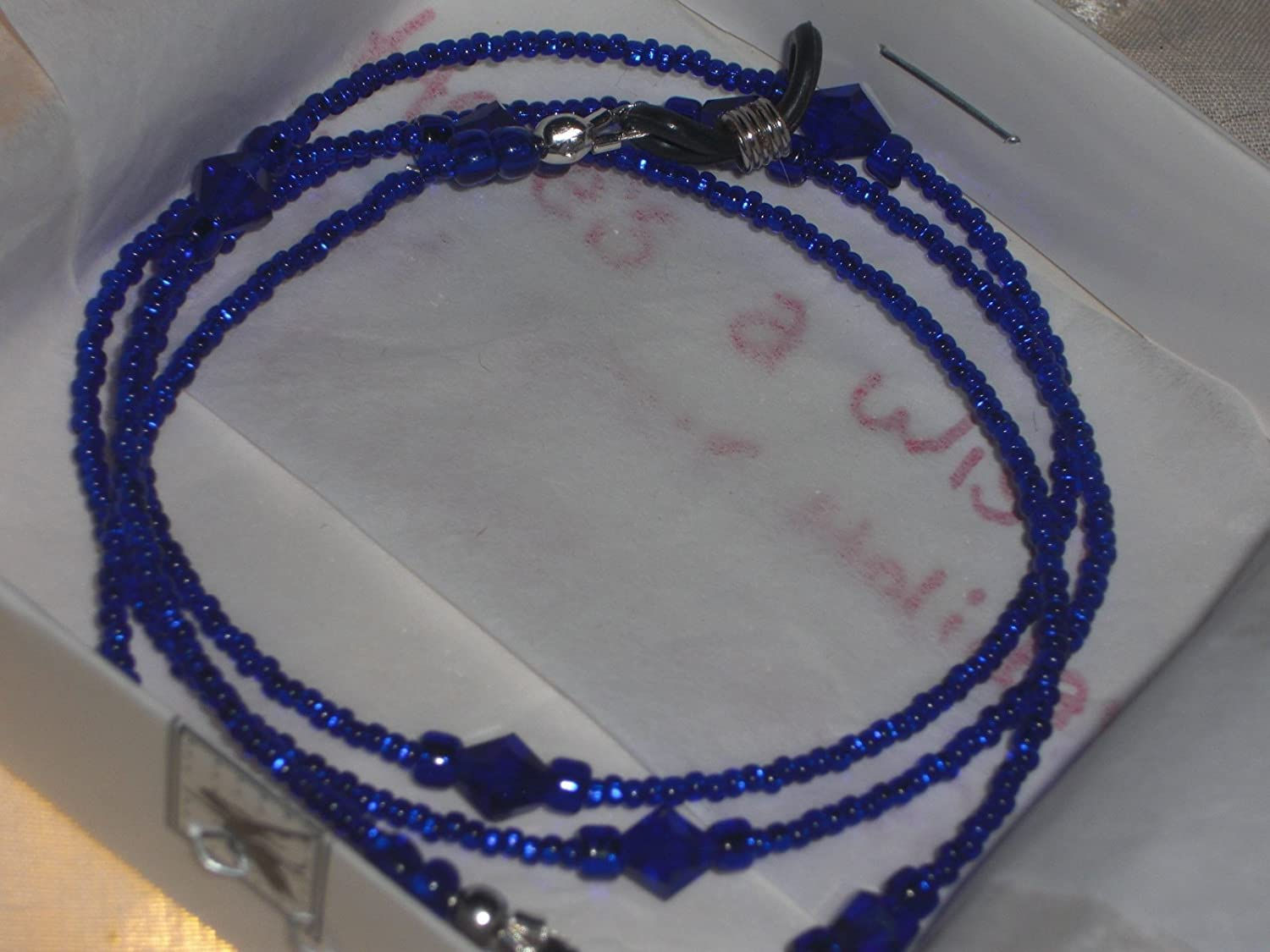 Hand Beaded Eyeglass Chain~Silver Lined Deep Cobalt Blue~ 6mm Accents 28 inches