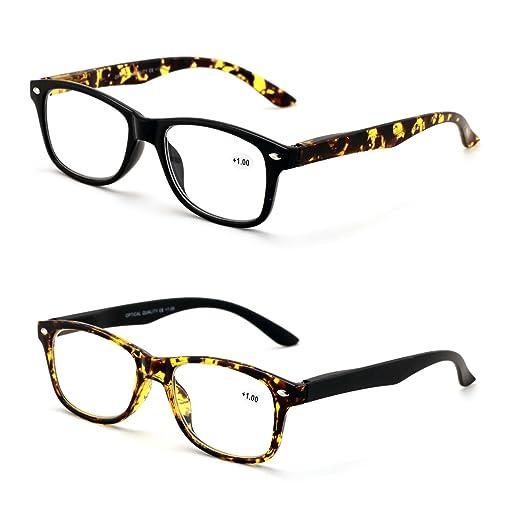 d0ef77f60de8 2 Pairs of Rectangular Tortoise Black Reader With Spring Hinges Men Women  RX Magnification Reading Glasses