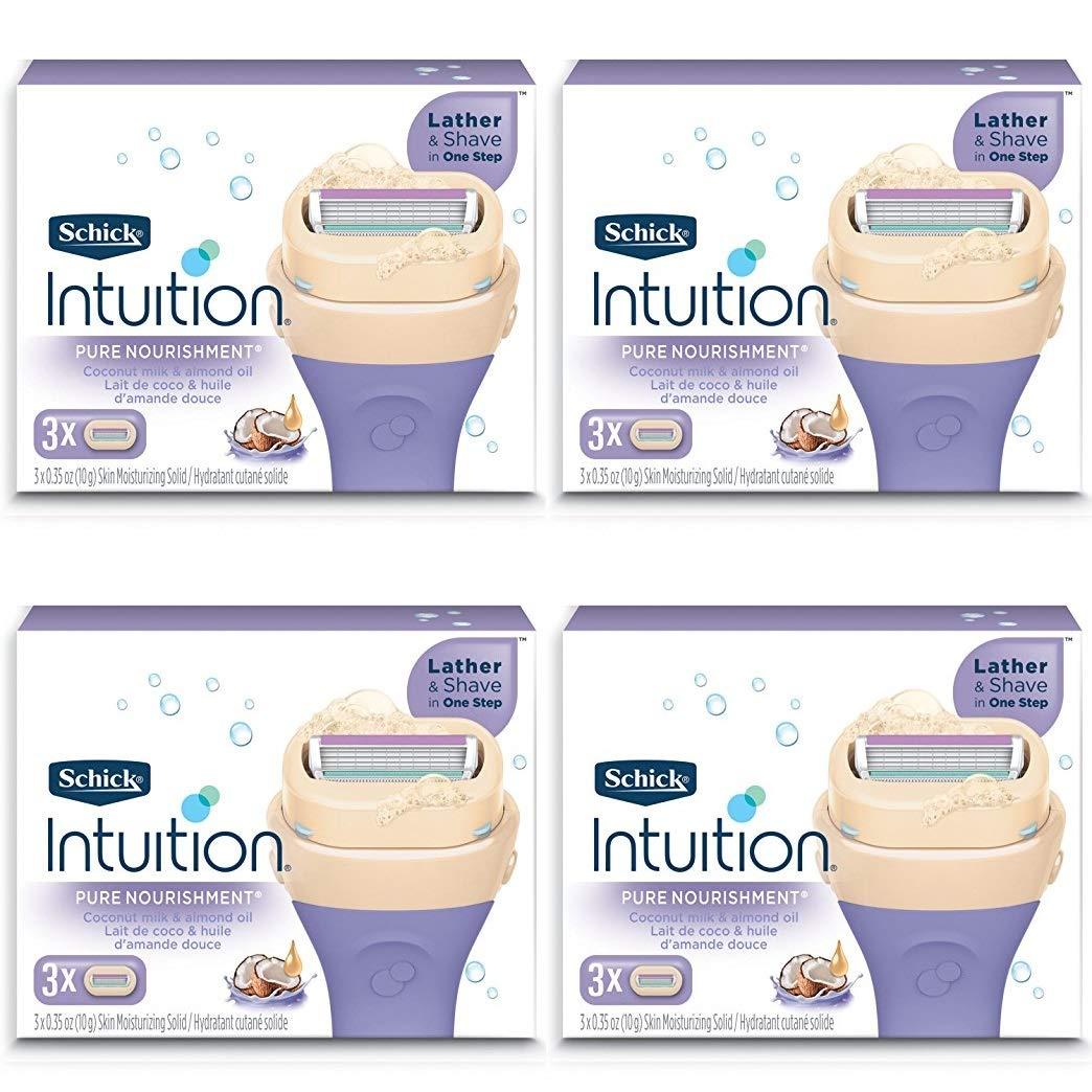 NEW Schick 100% Genuine Intuition Pure Nourishment Razor Refill Coconut milk and almond oil Cartridge 12 Blade Schick Intuition schck