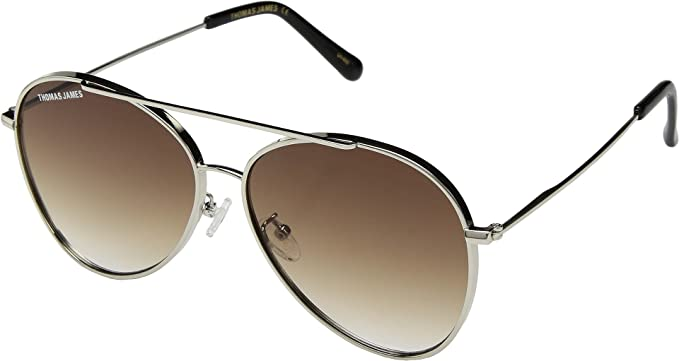 ab9fc474b6 THOMAS JAMES LA by PERVERSE Sunglasses Women s James Silver Brown Lens One  Size