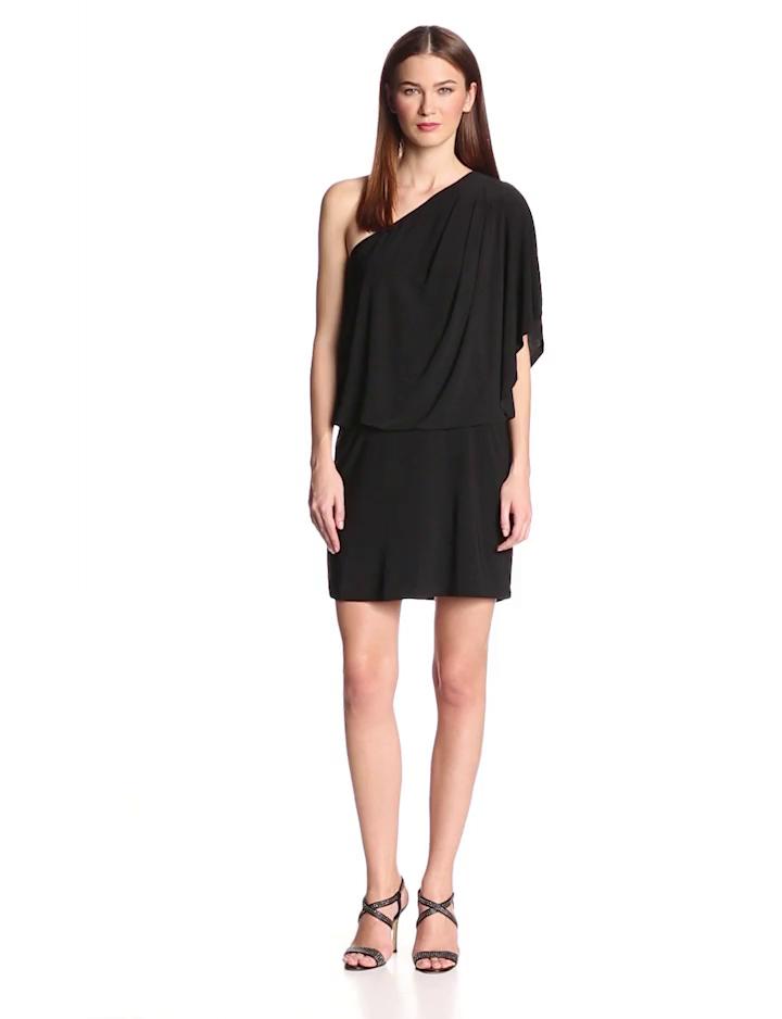 Jessica Simpson Women's One Shoulder Solid Mini Dress, Black, Medium