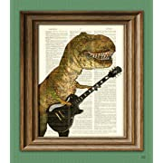 T-Rex with Guitar  Cousin Carl Shreds  Dinosaur art print beautifully upcycled dictionary page book art print