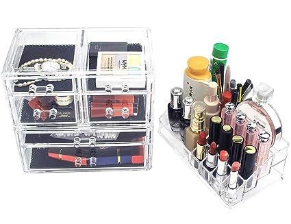 6bb9c023fb71 Weiai Cosmetic Makeup Organizers with Drawers, Jewelry Storage Case Display  - 3 Piece - Bathroom, Dresser, Vanity, Countertop (6 Drawers)