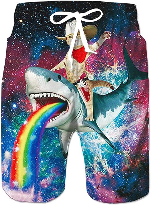 Summer Mens Quickly Dry Swim Trunks Surf 3D Funny Print Beachshorts Board Shorts