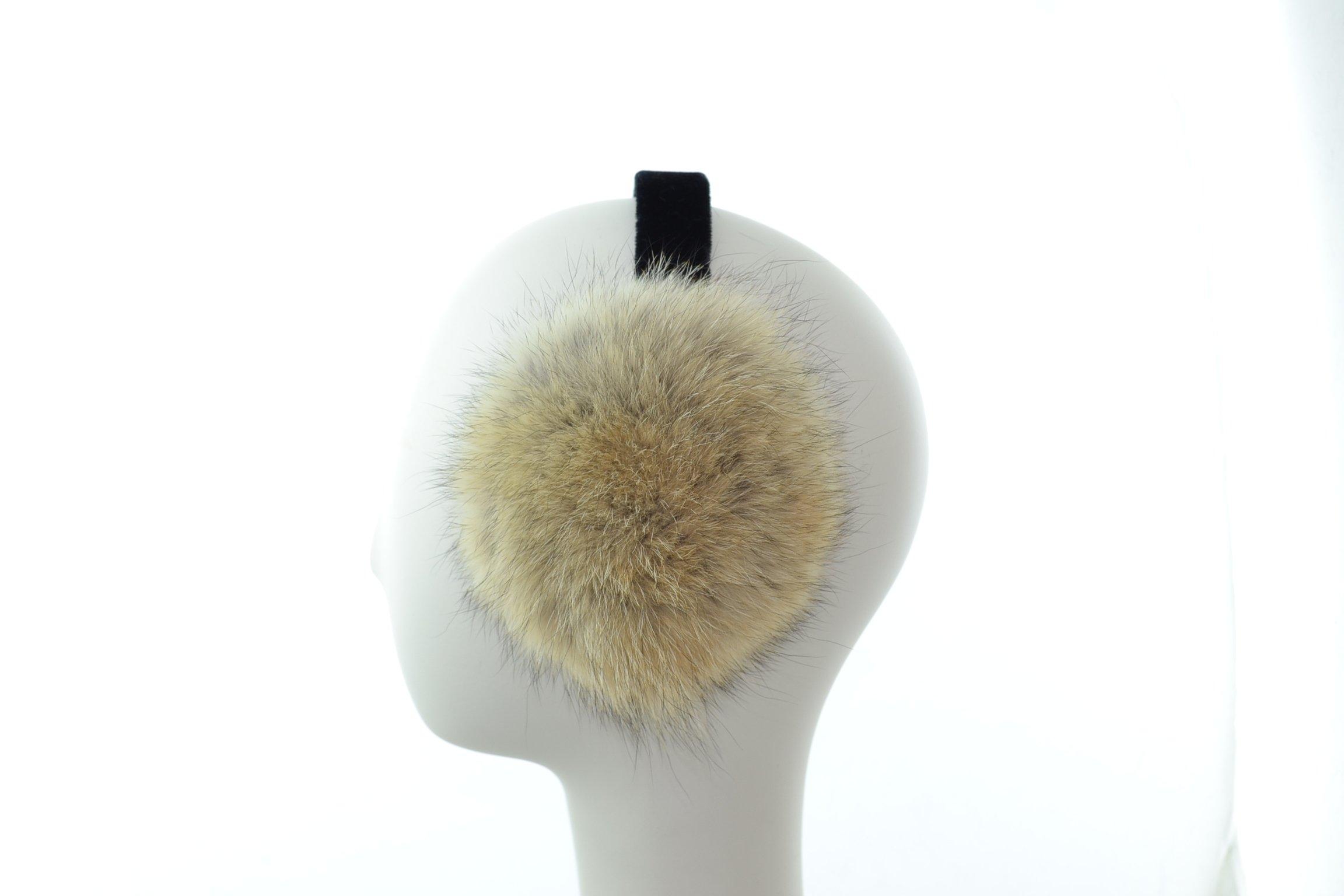 Surell Genuine Soft Beige Coyote Fur Earmuffs with Black Non Adjustable Velvet Head Band - Winter Fashion Ear Warmers - Perfect Elegant Women's Luxury Gift
