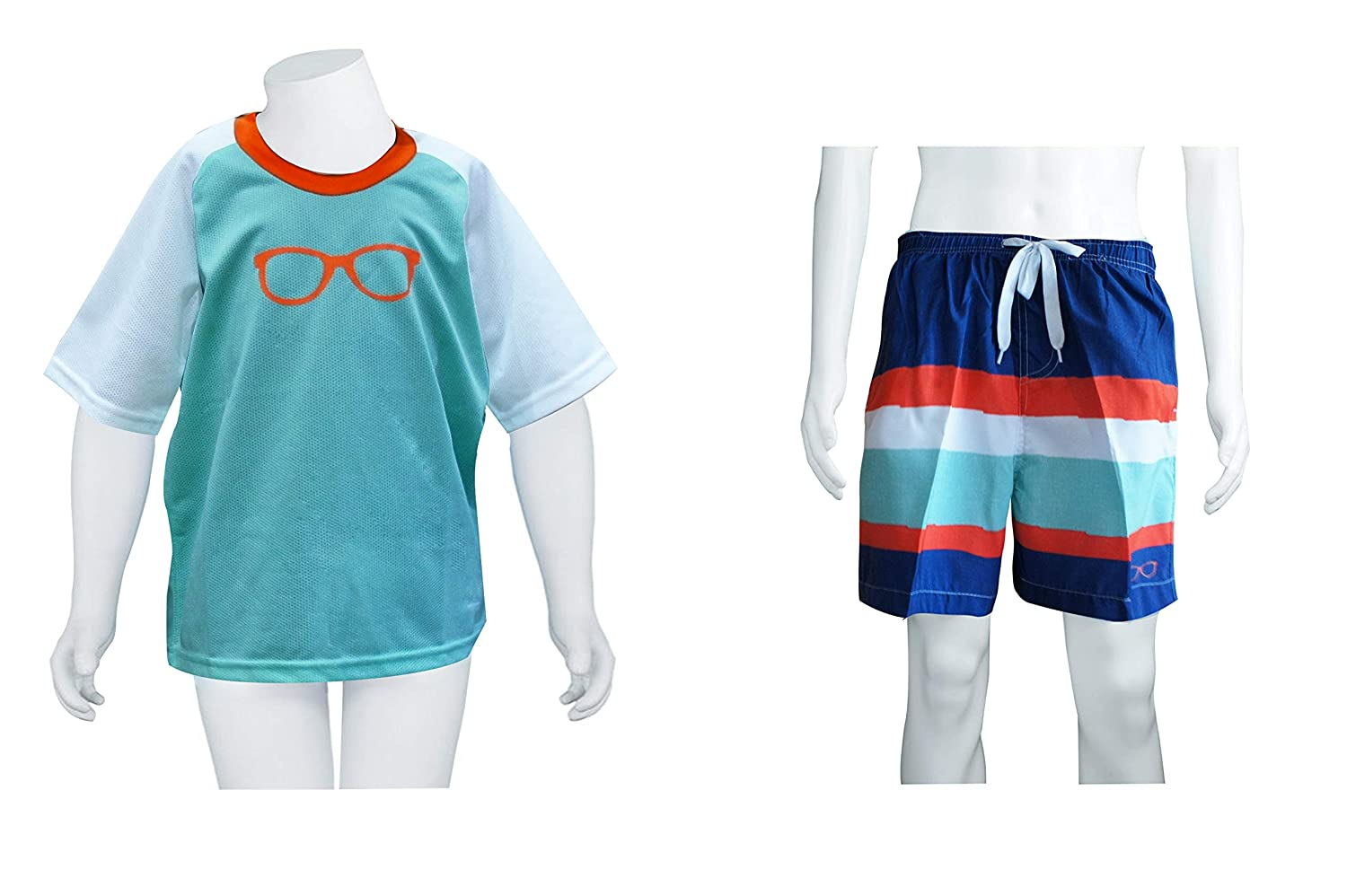 Abstract Boys Rash Guard Set Swim Trunk with Pockets and Short Sleeve Swimsuit