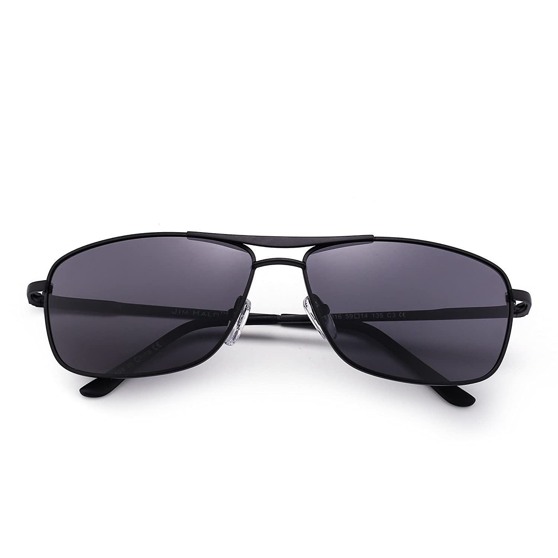 JIM HALO Gafas de Sol Polarizadas Rectangulares Conducir Marco Con Bisagras de Resorte Peso Ligero Hombre Mujer