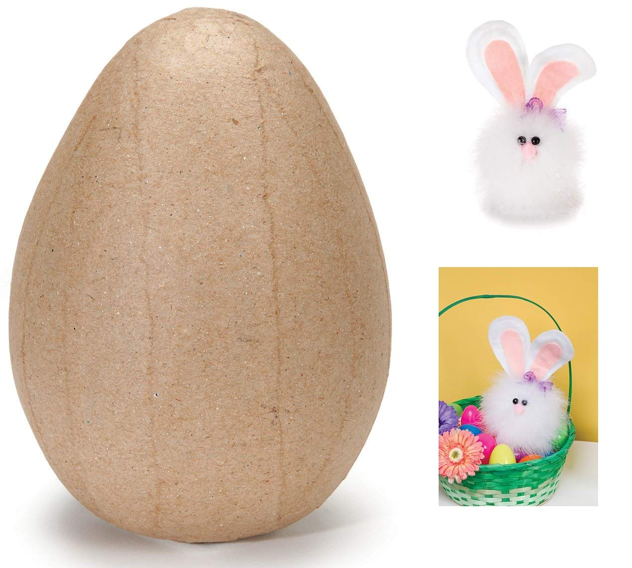 Color Your Own /& Decorate Gifting Ideas Creative DIY Craft 4 x 2.6 Paper Mache Easter Egg