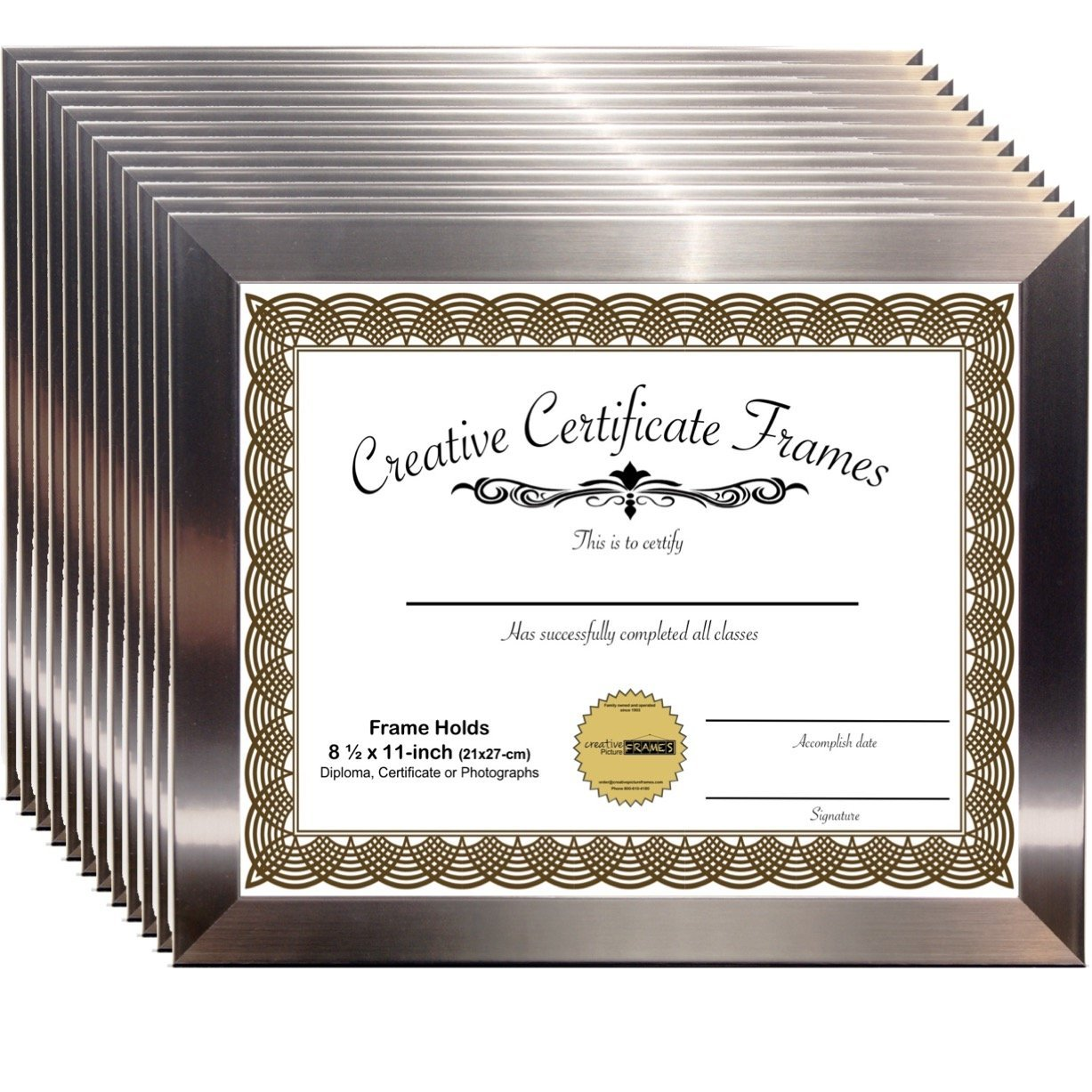 CreativePF [6I9P-8.5x11ss] Stainless Steel Document Frame Displays 8.5 by 11-inch Certificate, Graduation, University, Diploma Frames with Stand & Wall Hanger (Pack of 12)