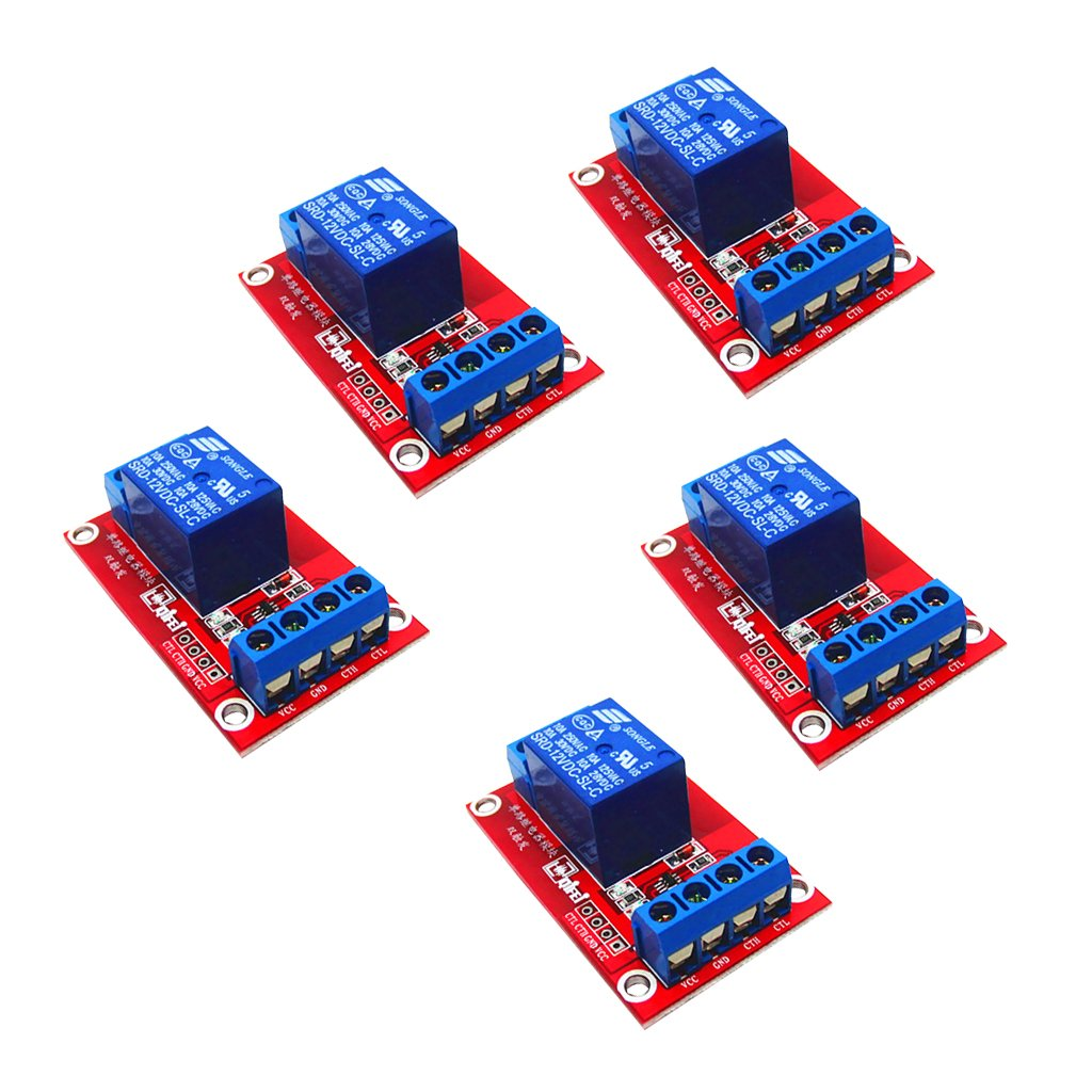 MagiDeal 5 Pieces 3V 1 Channel Relay Board Module Optocoupler LED For Arduino PIC ARM STK0119379771